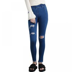 BIVIGAOS Summer New Women Jeans Tassel Ripped Hole Jeans Leggings Burrs Elastic Denim Ankle Pants Skinny Pencil Pants For Women. Jeans Outfit For Work, Jeans Outfit Winter, Fall Jeans, Summer Jeans, Denim Leggings, Ripped Denim, Skinny, Ankle Pants, Fashion Pants