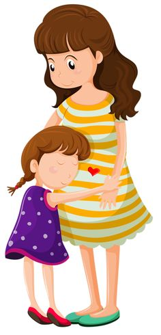 Buy Daughter Hugging Her Mother by interactimages on GraphicRiver. Illustration of a daughter hugging her mother on a white background Clipart Baby, Family Clipart, Mother Clipart, The Joys Of Motherhood, Mothers Day Crafts, Mother And Father, Fabric Painting, Mom And Baby, Cute Pictures