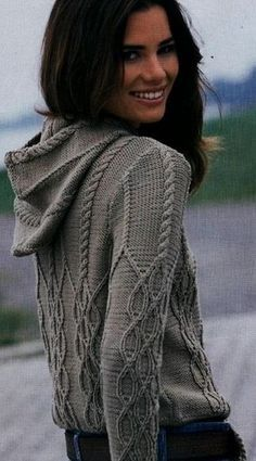 Hooded Cardigan, Knit Cardigan, Jumper, Knit Fashion, Womens Fashion, Cable Knitting Patterns, Knit Crochet, How To Wear, Clothes