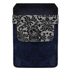 Leather Bottle Opener Pocket Protector w/ Designer Flap - White and Black Lace - 500