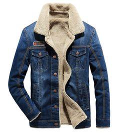 576e1a4821d03 Fuwenni Men s Sherpa Lined Denim Trucker Jacket Slim Fit Winter Warm Button  Down Jean Jacket Coat