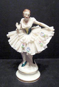 Antique German Porcelain Lace Figurine Ballerina