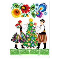 Kartka świąteczna + koperta   FOLK Boże Narodzenie – CHOINKA – kodra łowicka - Folkstar.pl
