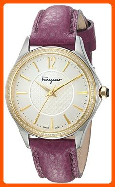 Salvatore Ferragamo Women's 'Time' Swiss Quartz Stainless Steel and Leather Casual Watch, Color:Purple (Model: FFV030016) - All about women (*Amazon Partner-Link)
