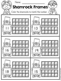 Free shamrock ten frames worksheet for teen numbers kindergarten worksheets, teaching kindergarten, preschool math Number Worksheets Kindergarten, Math Literacy, Preschool Math, Math Classroom, Kindergarten Activities, Teaching Math, Classroom Ideas, Number Activities, Numbers Preschool
