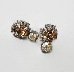 Swarovski Crystal multistone stud  drop earrings colorado topaz & golden shadow #Swarovski