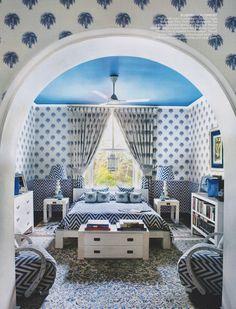 Soft blues, perfect in this bedroom! Vasundhara Raje's Delhi Home.
