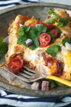 Add bacon to chicken enchiladas for dinner tonight!