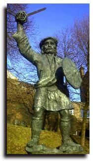 Rob Roy MacGregor (1671-1734) was a famous Scottish folk hero. He was the third son of Donald Glas of Glengyle and Margaret Campbell. As the son of a senior member of the clan, he was well educated, not just in reading and writing but in the crafts of fighting and swordsmanship. While Gaelic was his native tounge, he spoke (and wrote) in English also.