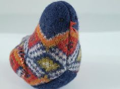 upcycled little bird from felted wool
