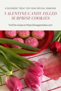 Valentine Candy Filled Surprise Cookies - What Meegan Makes Holiday Cookie Recipes, Holiday Desserts, Holiday Cookies, Delicious Desserts, Dessert Recipes, Yummy Food, Surprise Cookie Recipe, Valentines Day Food, Funny Valentine