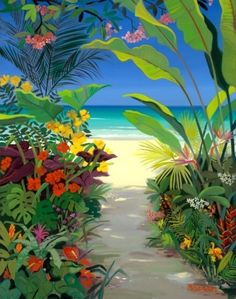 A Beautiful Painting of Tropical Garden by Shari Erickson Caribbean Art, Hawaiian Art, Arte Pop, Tropical Garden, Tropical Plants, Tropical Flowers, Naive Art, Beach Art, Painting Inspiration