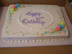 sheet cake with flowers – sheet cakes are unfortunatly very popular in the midwe… Blechkuchen mit Blumen – Blechkuchen sind im Mittleren Westen leider sehr beliebt Birthday Cupcakes For Women, Birthday Sheet Cakes, 80 Birthday Cake, Cake Decorating Tips, Cookie Decorating, Pastel Rectangular, Sheet Cakes Decorated, Dairy Queen Cake, Sheet Cake Designs