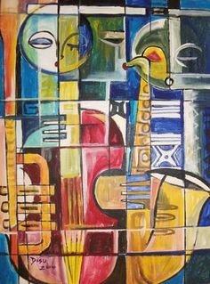 "Saatchi Art Artist Ibrahim-dada Disu; Painting, ""Love of Music"" #art 39.4 H x 31.5 W $3000"