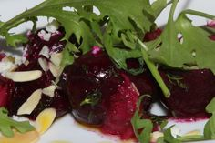 """Roasted local beet salad with """"Monforte"""" feta toasted almonds,dill vinaigrette $14"""