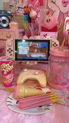 Pink Snacks, Cute Snacks, Cute Food, Kawaii Games, Diy Crafts For Teens, Otaku Room, Slime Craft, Cute Bedroom Decor, Kawaii Room