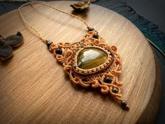 Macrame necklace with Tiger Eye. Bohemian jewelry design.