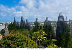 Tjibaou cultural center in Noumea capital of New Caledonia, Melanesia, South Pacific - Stock Image