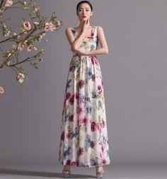 White Pink Purple Green Floral Print Aline Maxi by ChineseHut, $179.00