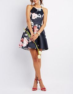 Floral Bib Neck Skater Dress #CharlotteLook