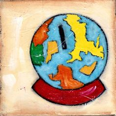 Acrylic painting of Globe Bank 6x6 original on by isabelsdoodles