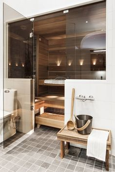 Cozy Sauna and home spa ideas Bathroom Spa, Bathroom Interior, Home Interior, Small Bathroom, Bathroom Ideas, Basement Bathroom, Master Bathroom, Bathroom Storage, Basement Sauna