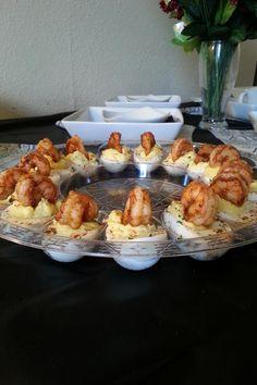Deviled Eggs Garnished with Cajun Shrimp: (Bake Shrimp Cajun) Creole Recipes, Cajun Recipes, Egg Recipes, Seafood Recipes, Appetizer Recipes, Cooking Recipes, Cajun Appetizers, Cajun Cooking, Cajun Dishes
