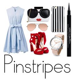 """""""Pinstripes"""" by russaktamar ❤ liked on Polyvore featuring Chicwish, Givenchy, Ray-Ban, Alice + Olivia, Jimmy Choo and MICHAEL Michael Kors"""