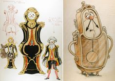 'Beauty and the Beast' concept art - Cogsworth the clock (Disney)  CLICK IMAGE TO SEE FULL SLIDESHOW