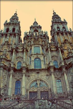 West Facade, Cathedral of St. James, Santiago de Compostela, Spain. South Tower 1667-1680; North Tower and Central Block Finished mid 18th Century by Fernando de Casas y Nóvoas.