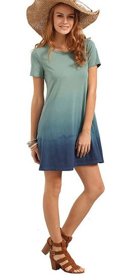 2354b1028115 New go-to summer swing t-shirt dress! Love the green to blue ombre. Comfy