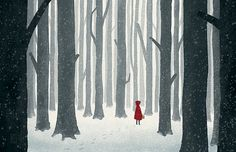 Little Red Riding Hood  Illustration Print by OlliesRoomArt, $30.00