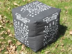 A personal favorite from my Etsy shop https://www.etsy.com/listing/232159105/palmist-pouf-18-x-18-10-lbs-white-on