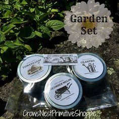 4 ounce Natural Soy Candle Garden SET 3 soy by crowsnestprimitive
