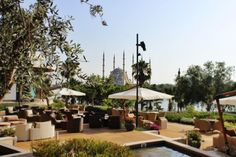 Breakfast, lunch or dinner, eating at spacious restaurant terrace is always pleasant. Terrace, Lunch, Restaurant, Patio, Table Decorations, Dinner, Breakfast, Outdoor Decor, Home Decor