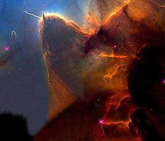 The Trifid Nebula. A 'stellar nursery', 9,000 light years from here, it is where new stars are being born.