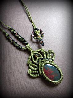 画像2: 癒しの天然石ブラッドストーン&トルマリンのネックレス*マクラメ*パワーストーン