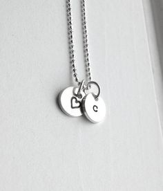 Tiny Letter c Initial Necklace with Heart    Two solid 8mm sterling silver disks are hand stamped, one with a lower case letter c in typewriter