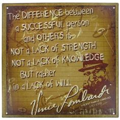 Vince Lombardi Quote Tin Sign