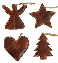 One World Kerstornament set van 4 leren hangers, bruin 11cm