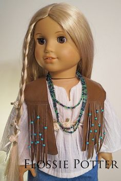 Flossie Potter Favorite Fringed Vest Doll Clothes Pattern 18 inch American Girl Dolls   Pixie Faire