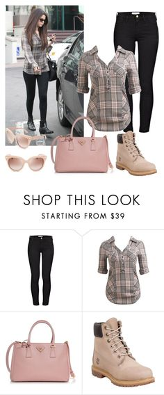 """""""plaid"""" by grateful-angel ❤ liked on Polyvore featuring Frame, Arden B., Prada, Timberland and Valentino"""