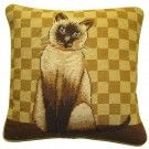 Gold Checkerboard Siamese Cat Needlepoint Pillow