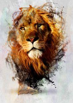 Water Color Splashed Lion