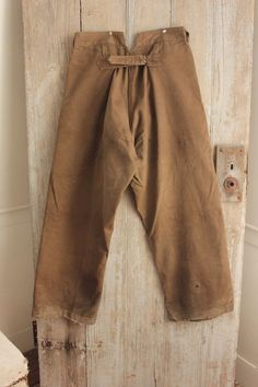 Vintage Canvas pants French trousers brown HEAVY work wear chore workwear old www.textiletrunk.com