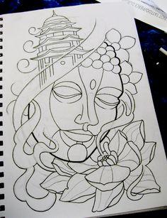 buddha tattoo design by thirteen7s.deviantart.com on @deviantART