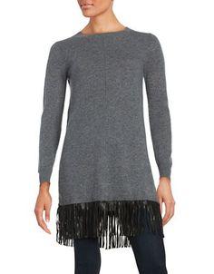 Ply Cashmere Leather Fringed Cashmere Tunic Women's Dark Grey Large