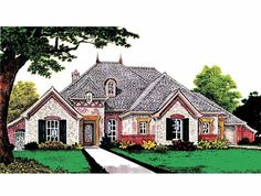 French Country House Plan with 2573 Square Feet and 4 Bedrooms(s) from Dream Home Source   House Plan Code DHSW66271