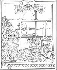 T T christmas cats Cat Coloring Page, Cool Coloring Pages, Christmas Coloring Pages, Coloring Sheets, Coloring Books, Free Adult Coloring, Coloring Pages For Kids, Christmas Cats, Christmas Colors