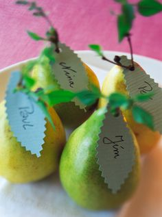 name place cards. I've done this for Thanksgiving before. Simple and elegant.